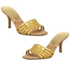 Unisa Yellow Sarina Cork Heel Slides